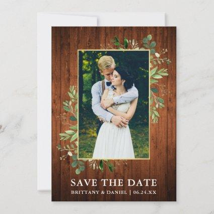 Watercolor Eucalyptus Wood Save The Date Card