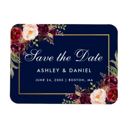 Watercolor Floral Burgundy Blue Save The Date Magnet