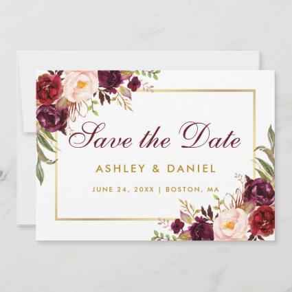 Watercolor Floral Burgundy Gold Save The Date BG