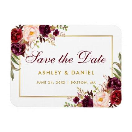 Watercolor Floral Burgundy Gold Save The Date Magnet