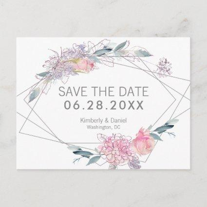 Watercolor Floral Geometric Save the Date Announcement