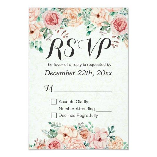 Watercolor Floral & Gold Script Wedding RSVP Reply Card