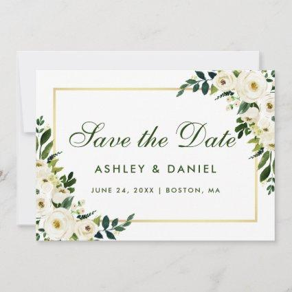 Watercolor Floral Green White Gold Save The Date G