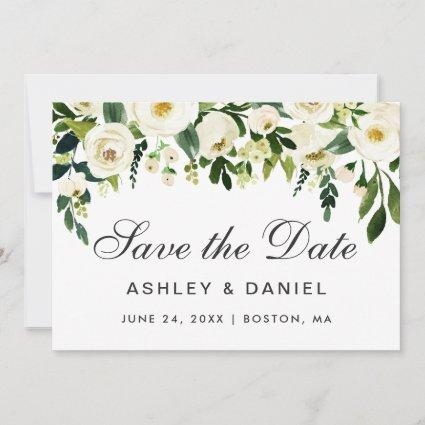 Watercolor Floral Green White Save The Date B