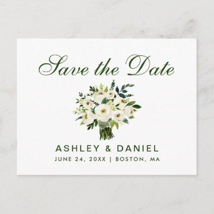 Watercolor Floral Green White Save The Date B Announcements Cards