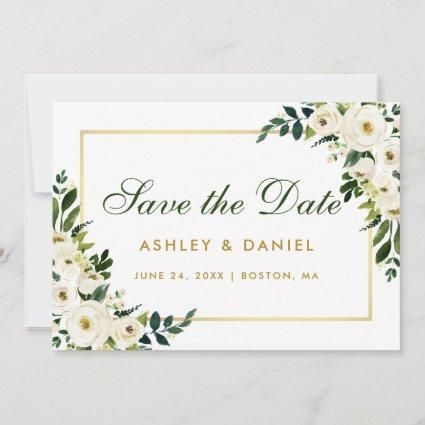 Watercolor Floral Green White Save The Date Gold