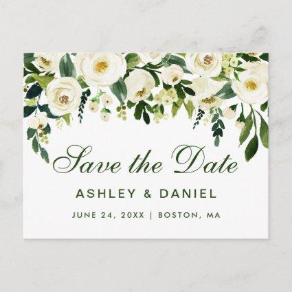 Watercolor Floral Green White Save The Date GS Announcement