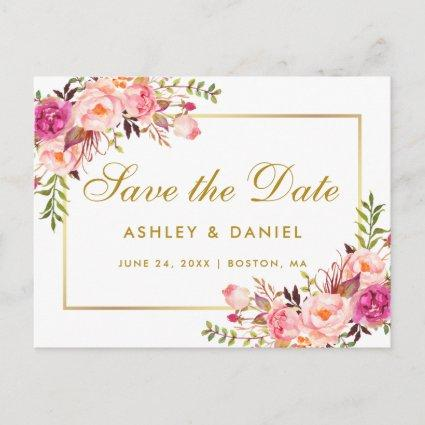 Watercolor Floral Pink Blush Gold Save The Date Announcement