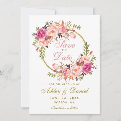 Watercolor Floral Pink Wreath Gold Save The Date