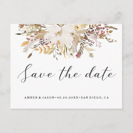watercolor floral romantic modern Save the Date Announcement