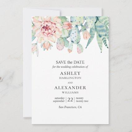 Watercolor floral succulents. Green & blue cactus Save The Date