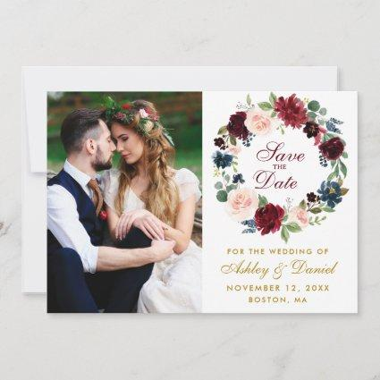 Watercolor Floral Wreath Burgundy Blue Wedding Save The Date