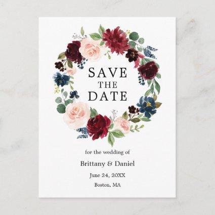Watercolor Floral Wreath Save The Date Announcement