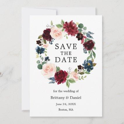 Watercolor Floral Wreath Save The Date Card