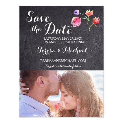 Watercolor Flower Save the date - Vertical Magnetic Invitation