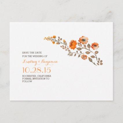 watercolor flowers cute save the date announcement