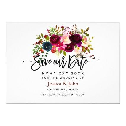 Watercolor flowers in blush, burgundy navy blue invitation