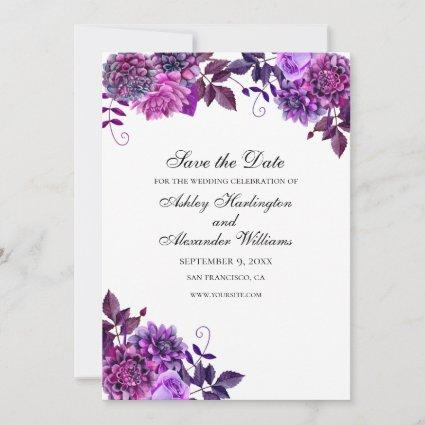 Watercolor flowers. Purple wedding. Floral garden Save The Date