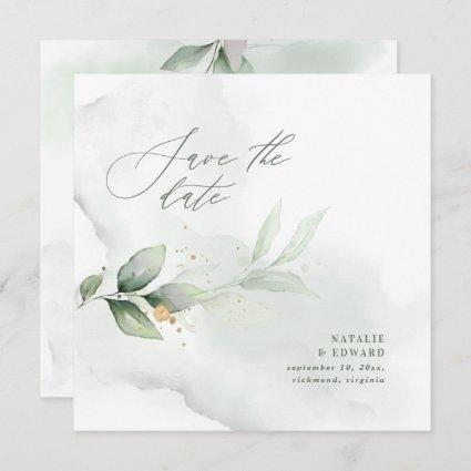 Watercolor foliage and metallic gold wedding save the date