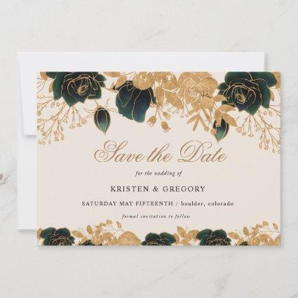 Watercolor Gold and Green Roses save the date Invitation