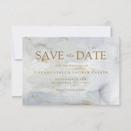 Watercolor Gold Blue Marble Wedding Save The Date