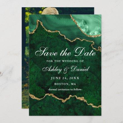 Watercolor Green Gold Marble Agate Geode Photo Save The Date