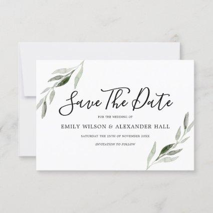 Watercolor Green Leaf Modern Wedding Save The Date