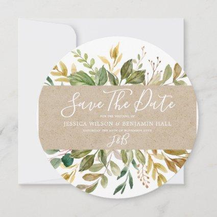 Watercolor Green Leaf Summer Wedding Fall Save The Date