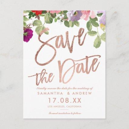 Watercolor greenery floral script save the date announcement