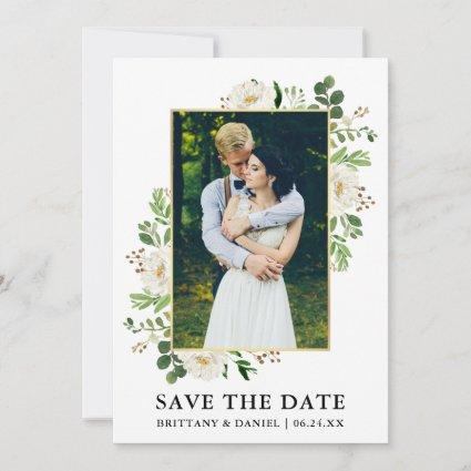 Watercolor Greenery Flowers Save The Date Card