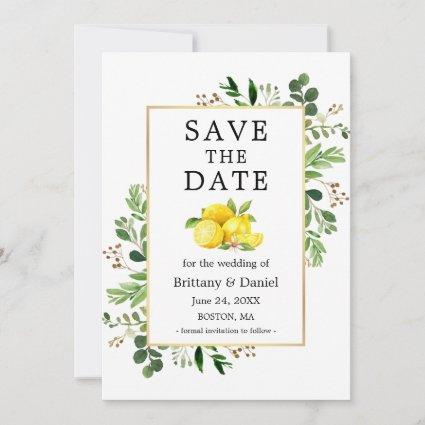 Watercolor Greenery Lemons Save The Date Card