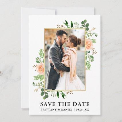 Watercolor Greenery Peach Roses Save The Date Card