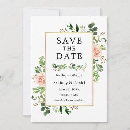 Watercolor Greenery Pink Floral Save The Date Card