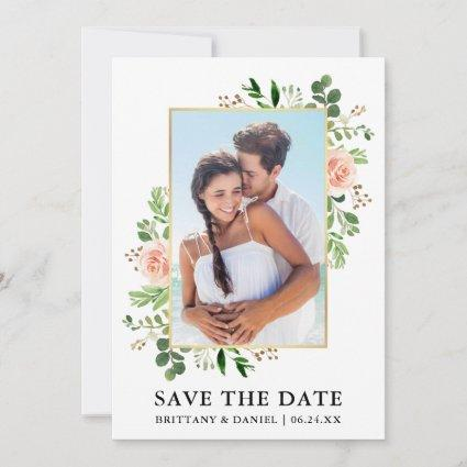 Watercolor Greenery Pink Roses Save The Date Card