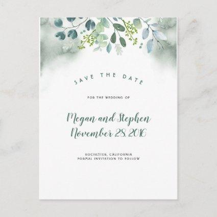 Watercolor Greenery Save the Date Announcement