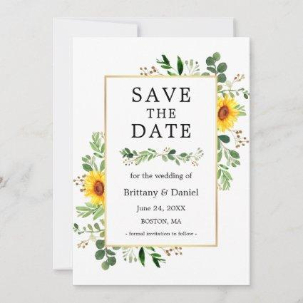 Watercolor Greenery Sunflowers Save The Date Card