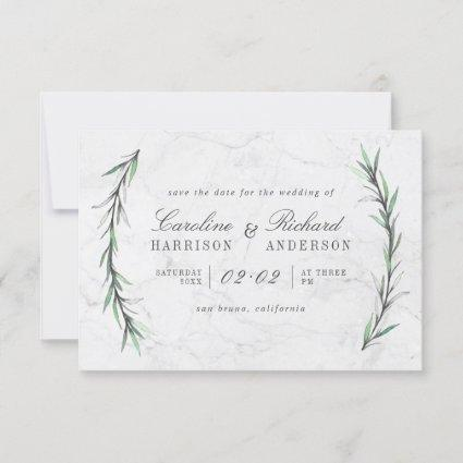 Watercolor Greenery & White Marble Save The Date