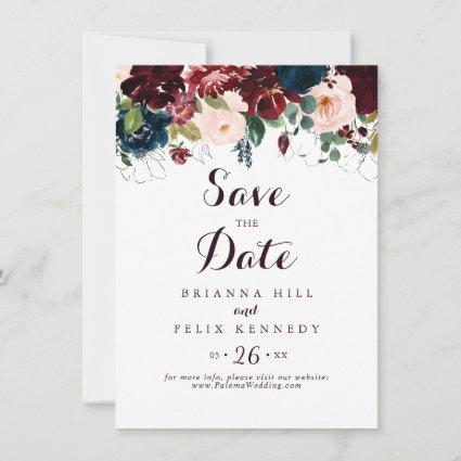 Watercolor Illustrated Fall Floral Wedding Save The Date