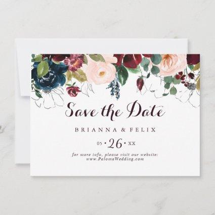 Watercolor Illustrated Fall Horizontal Wedding Save The Date