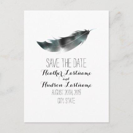 Watercolor Inspired Feather Save The Date - Black Announcements