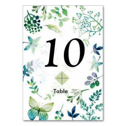 Watercolor Leaves and Butterflies Jungle Table Number