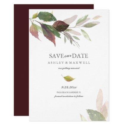 Watercolor Leaves Fall Wedding Save the Date Invitation