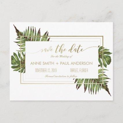 Watercolor leaves & gold Save the Date Announcements Cards