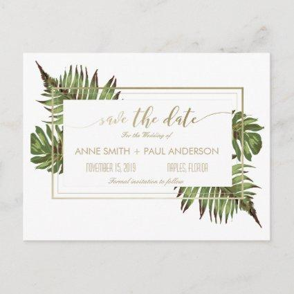 Watercolor leaves & gold Save the Date v2 Announcement