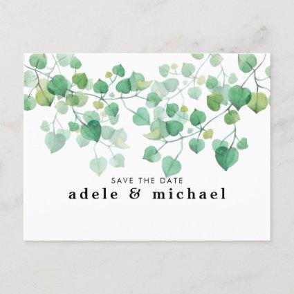 Watercolor Leaves Photo Save The Date Announcement
