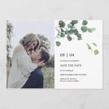 Watercolor leaves save the date photocard