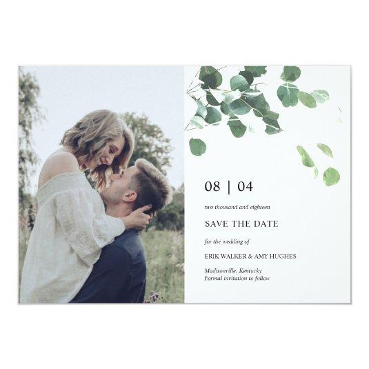Watercolor leaves save the date photocard card