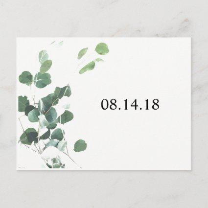 Watercolor leaves save the date Cards