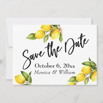 Watercolor Lemons Save the Date Typography