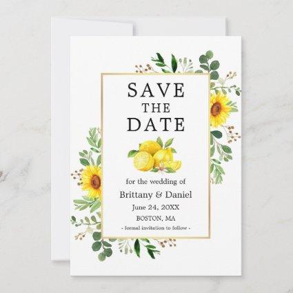 Watercolor Lemons Sunflowers Save The Date Card